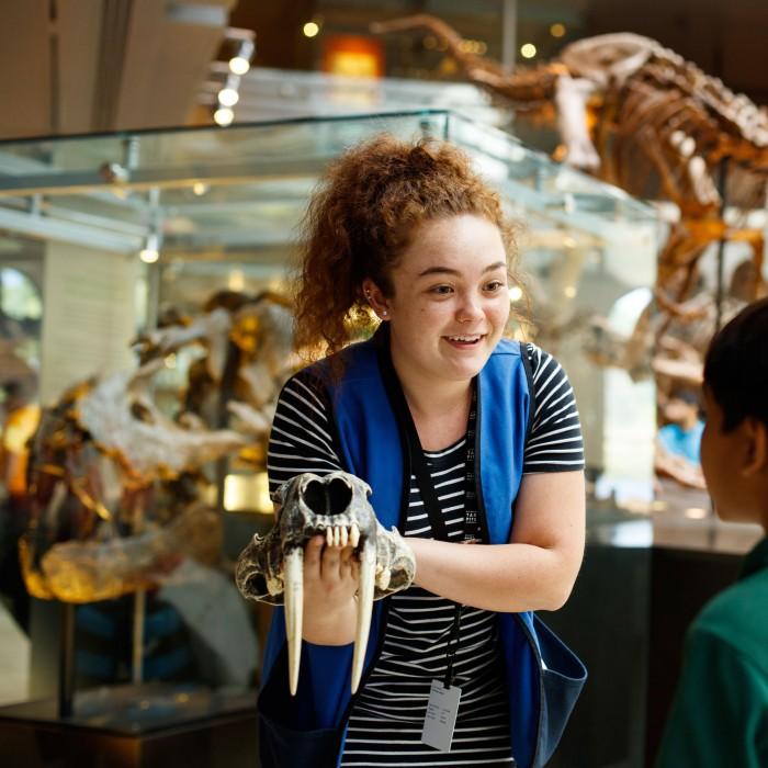 female volunteer with skull in dino hall
