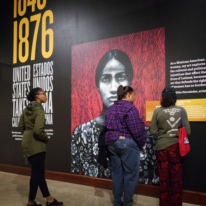 Visitors at Becoming Los Angeles exhibition
